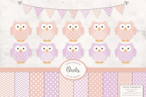 Girls Pastel Owl and Pattern Set
