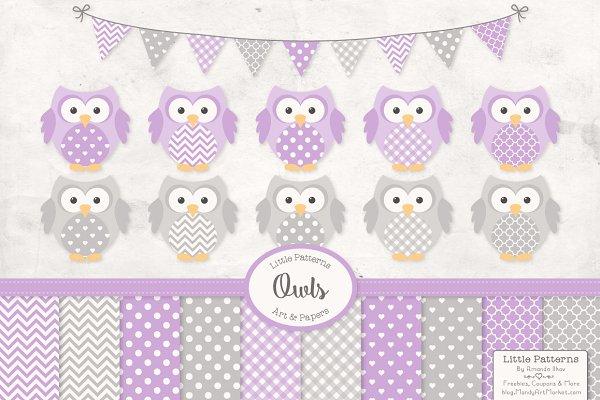 Lavender Purple Owl Vectors & Paper…