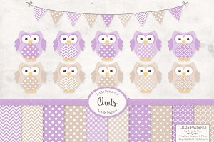 Lavender Owls, Banners and Patterns