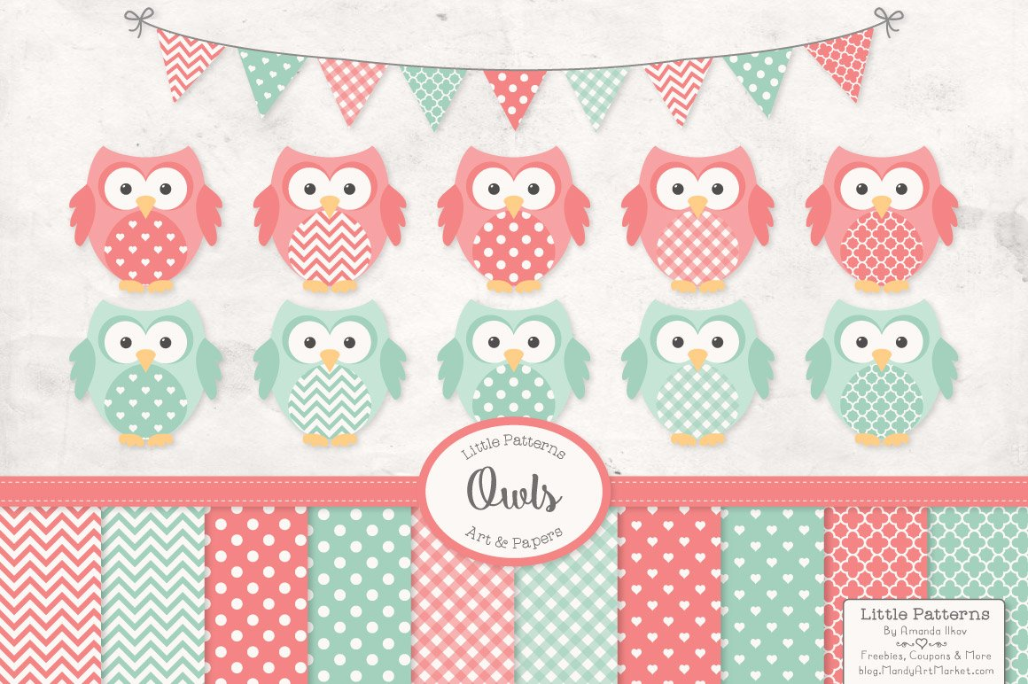 Mint & Coral Owl Clipart & Papers ~ Illustrations ~ Creative Market