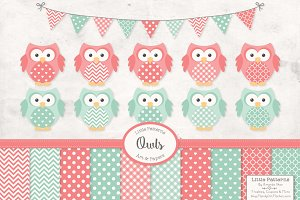 Mint & Coral Owl Clipart & Papers