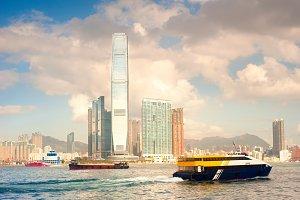 Ships in Hong Kong harbor