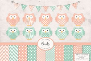 Mint & Peach Owl Clipart & Papers