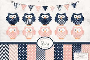 Navy & Blush Vector Owls & Papers