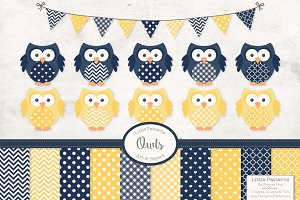Navy & Lemon Vector Owls & Papers