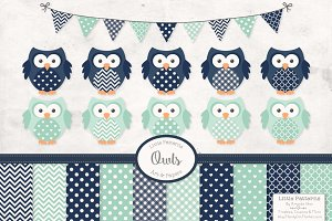 Navy & Mint Owl Clipart