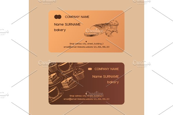 Cafe menu vector business card sweet