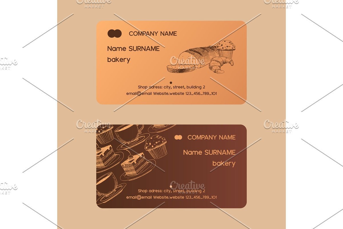 Cafe menu vector business card sweet in Illustrations - product preview 8