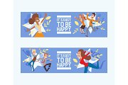 Happy people vector jumping woman or