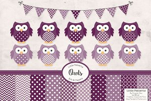 Deep Plum Vector Owls & Papers