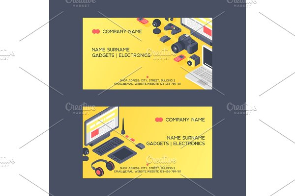 Gadget pattern vector business card