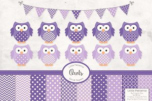 Purple Owl Clip Art Vectors & Papers