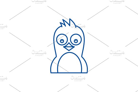 Cute penguin line icon concept. Cute
