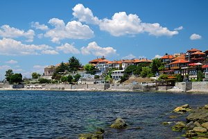 Seaside in city of Nesebar, Bulgaria
