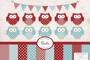 Robins Egg & Red Vector Owls & Paper