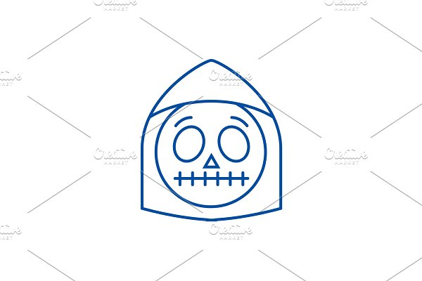 Death emoji line icon concept. Death