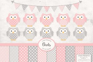 Pink & Grey Owl Vectors & Papers