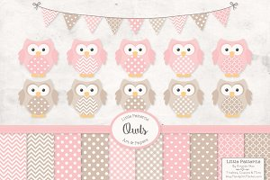 Soft Pink Vector Owls & Paper