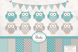 Vintage Blue Owls Vectors & Papers