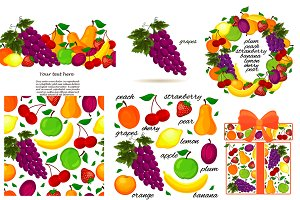 set of fruit for your design