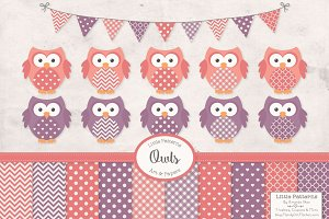 Vintage Girls Owl Vectors & Papers