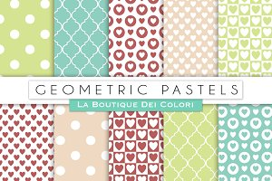 Green & Pink Geometric Papers