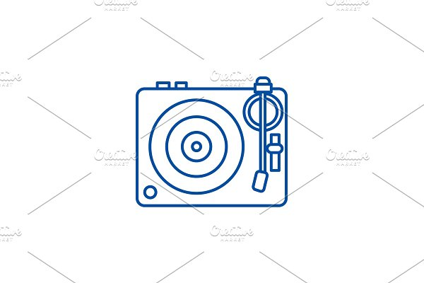 Dj, vinyl,turntable line icon