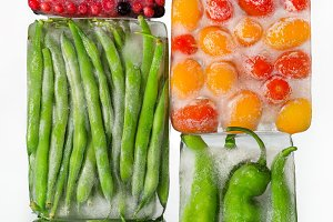vegetables in ice