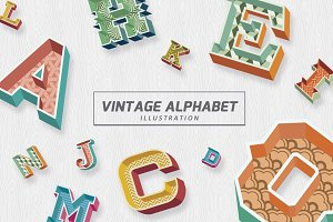 Vintage Alphabet Illustration