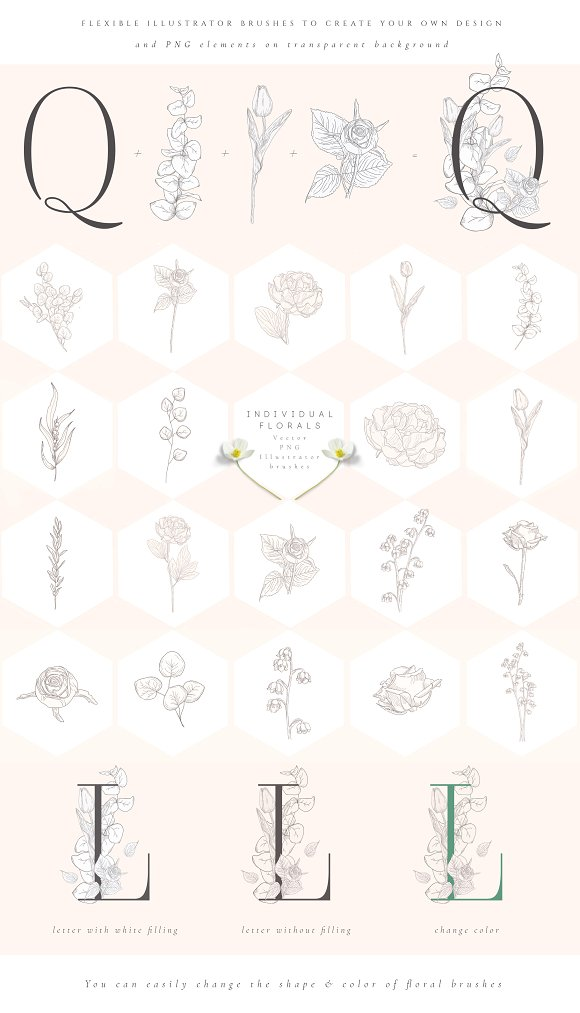Spring Vibes ~ Floral Alphabet in Graphics - product preview 9