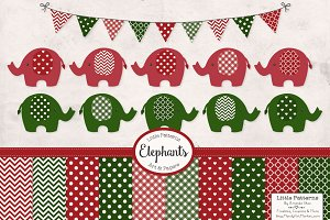 Christmas Elephant Clip Art & Papers