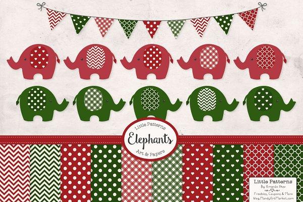 Christmas Elephant Clip Art & Paper…