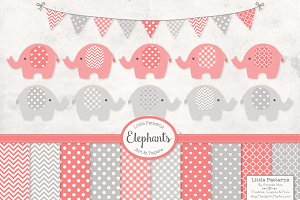 Coral Elephants Clipart & Patterns