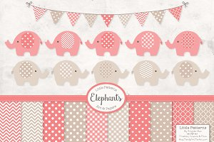 Coral Elephant Clipart & Patterns