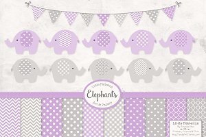 Lavender Elephants Clip Art & Papers