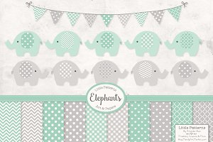 Mint Elephant Clipart & Patterns