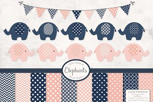 Navy & Blush Clipart & Papers