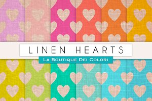 Linen Hearts Digital Papers