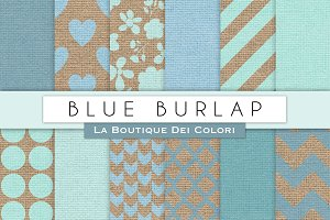 Blue Burlap Digital Papers
