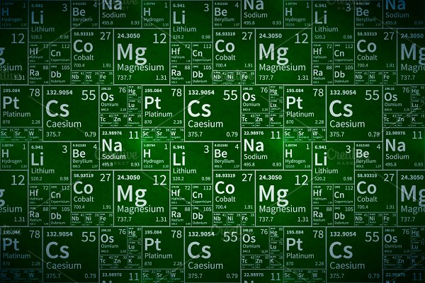 Chemical elements table on green