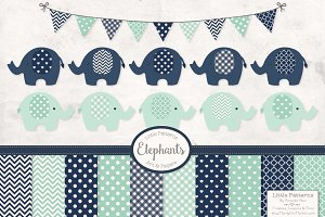Navy & Mint Elephant Clipart