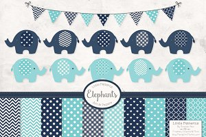 Blue Elephant Clip Art and Patterns