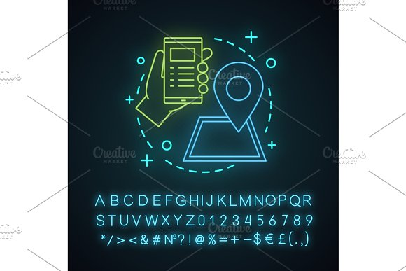 GPS system neon light concept icon