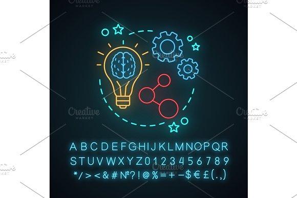 Share ideas neon light concept icon