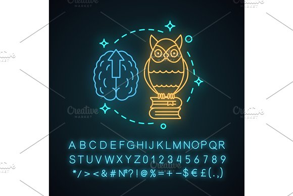 Wisdom neon light concept icon