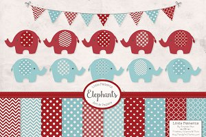 Red and Blue Elephant Clipart