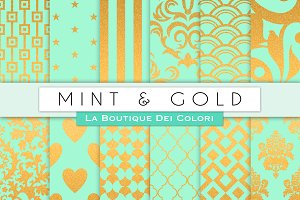 Mint & Gold Digital Papers