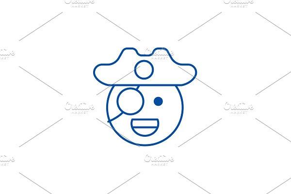 Pirate emoji line icon concept
