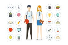 School illustration icons set