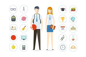 School illustration icons set